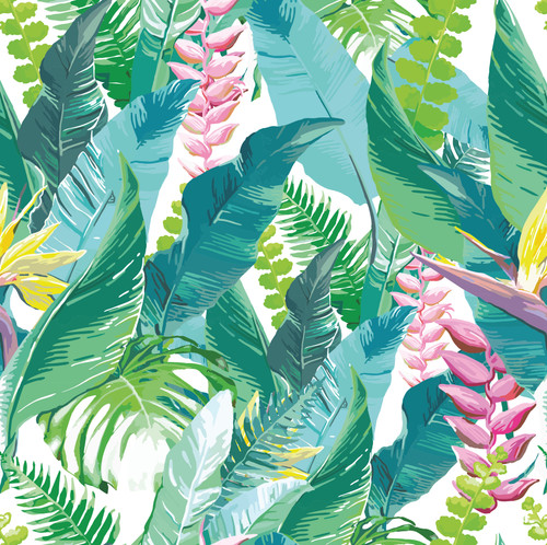 GN2021 Tropical Fantasy Fine Wallpaper Roll size 26 inch Wide x 27ft. Long, Green, Blue, Pink