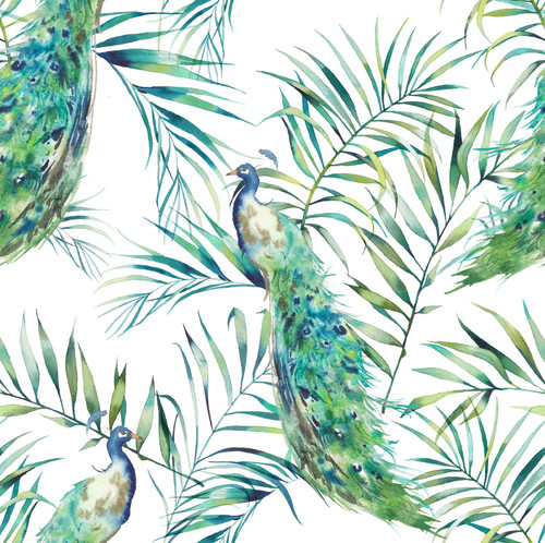 GN2031 Peacock Fine Wallpaper Roll size 26 inch Wide x 27ft. Long, Green, Blue, White
