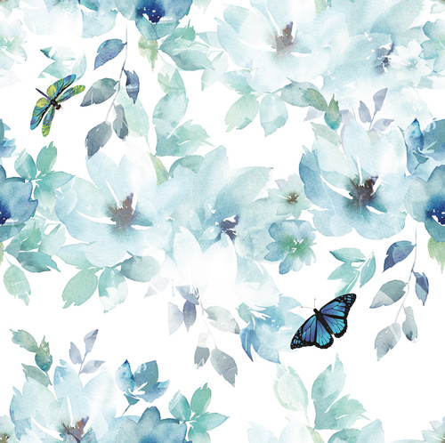 GP3011Grace and Gardenia Peel and Stick 6 Ft Watercolor Floral Butterfly Blue Green