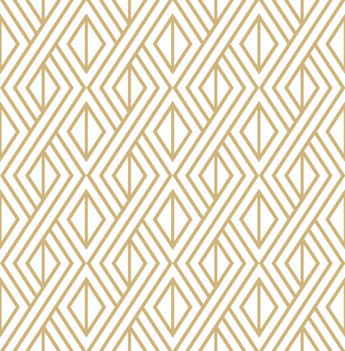 NextWall Diamond Geometric Peel and Stick NW30105 Wallpaper Gold and White