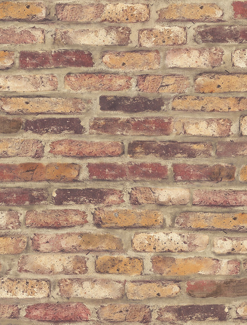 NextWall NW30201 Faux Rustic Red Brick Peel and Stick Wallpaper