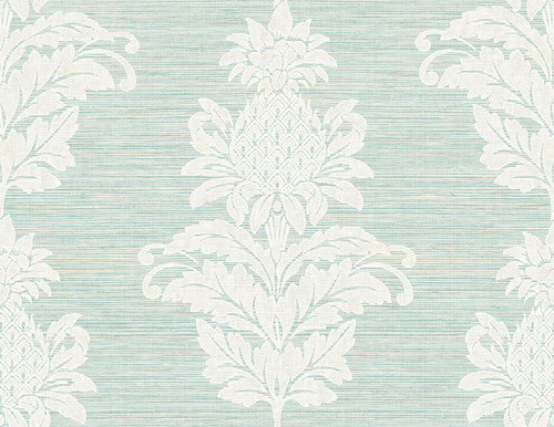 Kenneth James by Brewster PS40704 Palm Springs Pineapple Grove Turquoise Damask Wallpaper