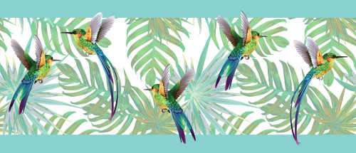 GRACE & GARDENIA GB20011 Hummingbirds and Tropical Plants Peel and Stick Wallpaper Border Blue / Green 10in Height x 18ft Long