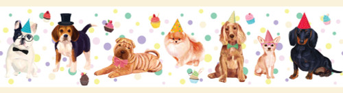 GB90041 Party Dogs Peel and Stick Wallpaper Border 10in Height x 18ft Long Multicolor