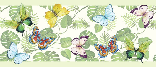 GB20021 Butterflies and Tropical Plants Peel and Stick Wallpaper Border 10in Height x 18ft Long Green/Yellow/Blue