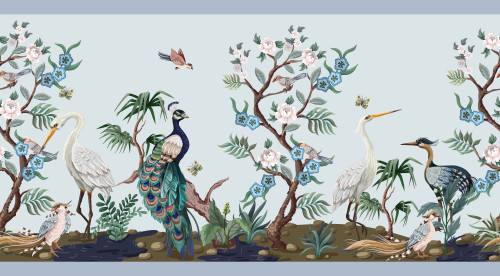 GB50031 Chinoiserie Herons Peel and Stick Wallpaper Border 10in Height x 18ft Long Blue/Green/White