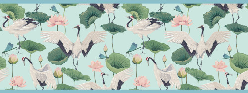 GB50041 Cranes and Grasshoppers Peel and Stick Wallpaper Border 10in Height x 18ft Long Blue/Green/Pink