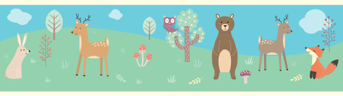 GB90031 Forest Animals Peel and Stick Wallpaper Border 10in Height x 18ft Long Blue/Green/Tan