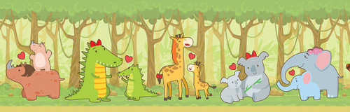 GB90051 Jungle Animals Peel and Stick Wallpaper Border 10in Height x 18ft Long Green/Yellow/Brown