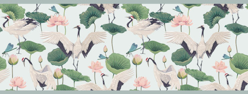 GB50042 Cranes and Grasshoppers Peel and Stick Wallpaper Border 10in Height x 18ft Long Gray/Green/Pink