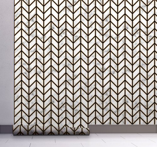 GW0091 Marble Herringbone Peel and Stick Wallpaper Roll 20.5 inch Wide x 18 ft. Long, Black/Gold