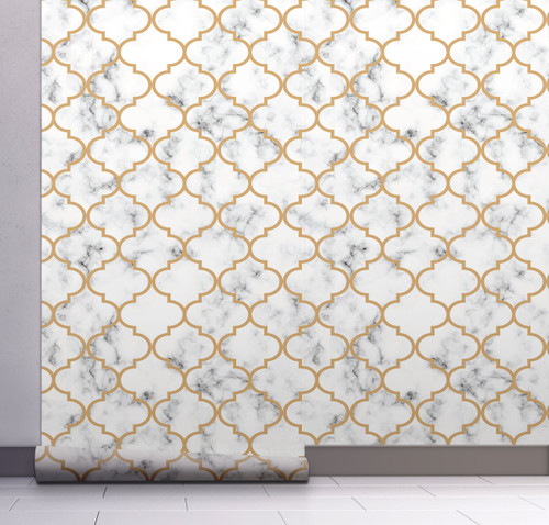 GW0071 Moroccan Marble Peel and Stick Wallpaper Roll 20.5 inch Wide x 18 ft. Long, Gold/White/Gray