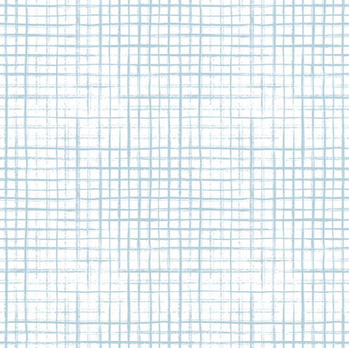GW0061 Hand Painted Grid Peel and Stick Wallpaper Roll 20.5 inch Wide x 18 ft. Long, Light Blue/White