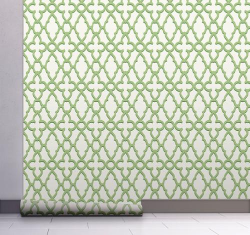 GW0081 Trellis Pattern Peel and Stick Wallpaper Roll 20.5 inch Wide x 18 ft. Long, Green