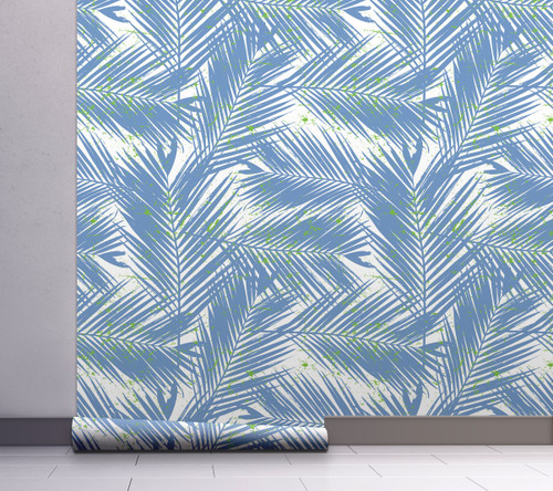 GW2123 Paint Spattered Palms Peel and Stick Wallpaper Roll 20.5 inch Wide x 18 ft. Long, Light Blue/Green