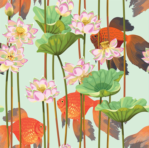 GN5021 Koi and Water Lillies Fine Wallpaper Roll size 26 inch Wide x 27ft. Long, Green/White/Blue