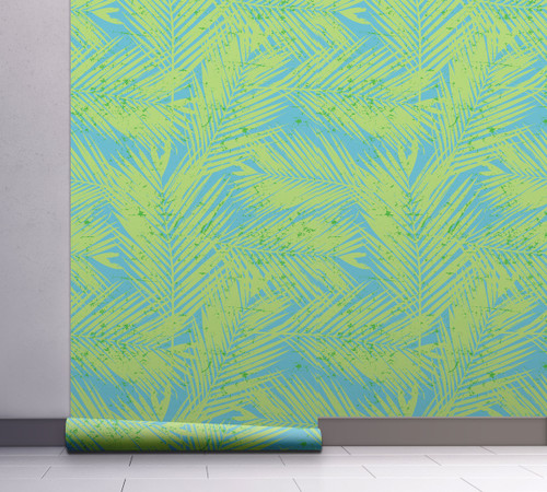 GW2122 Paint Spattered Palms Peel and Stick Wallpaper Roll 20.5 inch Wide x 18 ft. Long, Green/Blue