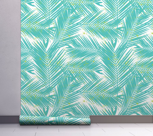 GW2121 Paint Spattered Palms Peel and Stick Wallpaper Roll 20.5 inch Wide x 18 ft. Long, Aqua/Green