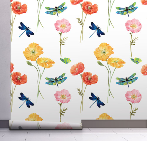 GW5081 Poppies and Dragonflies Peel and Stick Wallpaper Roll 20.5 inch Wide x 18 ft. Long, Yellow/Orange/Blue