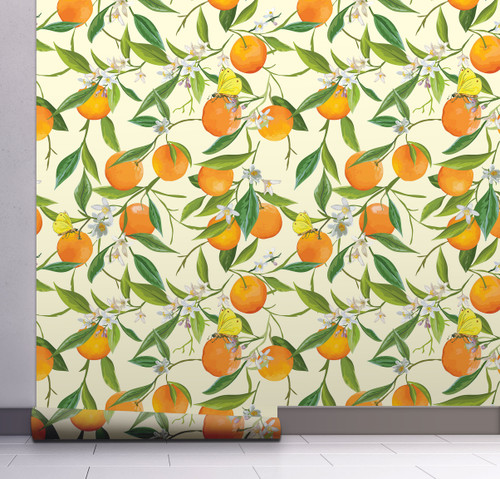 GW5071 Orange Blossoms Peel and Stick Wallpaper Roll 20.5 inch Wide x 18 ft. Long, Orange/Green/Yellow
