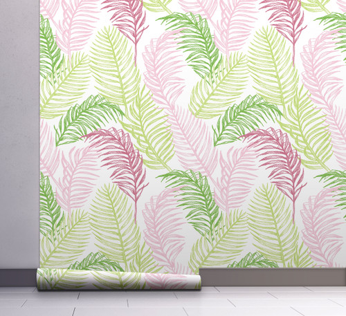 GW2151 Hand Drawn Palms Peel and Stick Wallpaper Roll 20.5 inch Wide x 18 ft. Long, Green/Pink