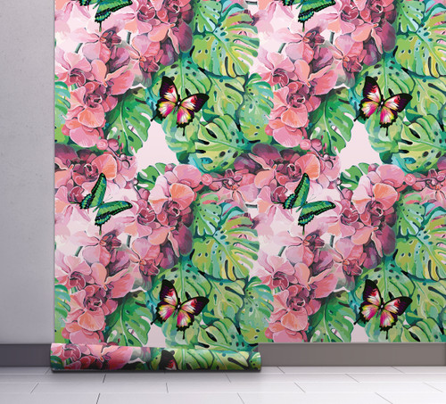 GW2141 Tropical Orchids and Butterflies Peel and Stick Wallpaper Roll 20.5 inch Wide x 18 ft. Long, Green/Pink