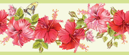 GB20031 Hibiscus and Butterfly Peel and Stick Wallpaper Border 10in Height x 18ft Long Pink/Green
