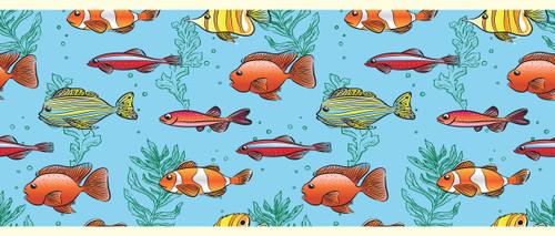 GB90061 Cartoon Fish Peel and Stick Wallpaper Border 10in Height x 18ft Long Blue/Green/Orange