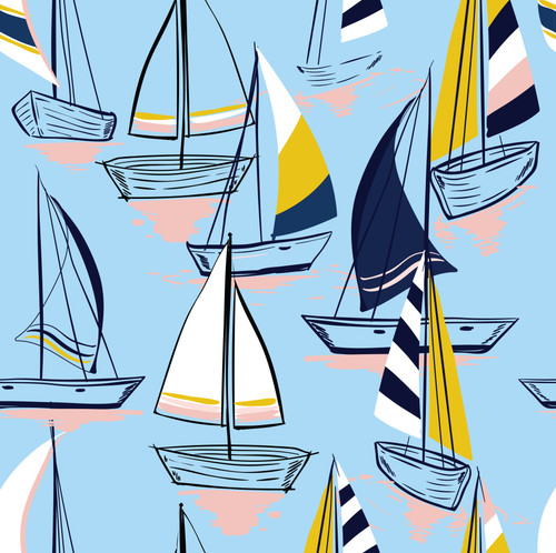 GN1022 Sailboats at Sunset Pattern Fine Wallpaper Roll size 26 inch Wide x 27 ft. Long, Light Blue/Navy/Yellow
