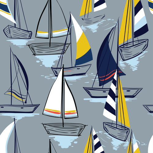 GN1021 Sailboats at Sunset Pattern Fine Wallpaper Roll size 26 inch Wide x 27 ft. Long, Gray/Navy/Yellow