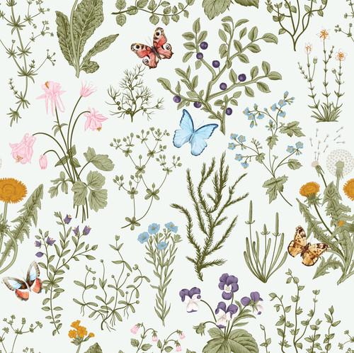 GN5041 Wildflowers and Butterflies Fine Wallpaper Roll size 26 inch Wide x 27 ft. Long, Cream/Green