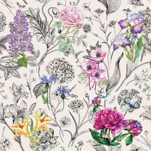 GN5031 Vibrant Flowers on Black and White Fine Wallpaper Roll size 26 inch Wide x 27ft. Long, Multicolor