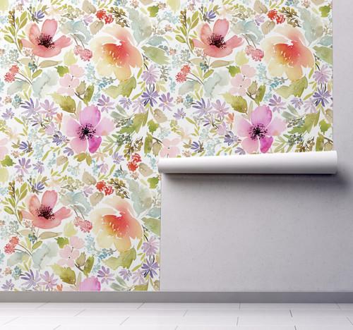 GP5041P9 Grace & Gardenia Watercolor Wildflowers Premium Peel and Stick Wallpaper Panel Green Pink Purple 26 inch Wide x 9 Ft Long