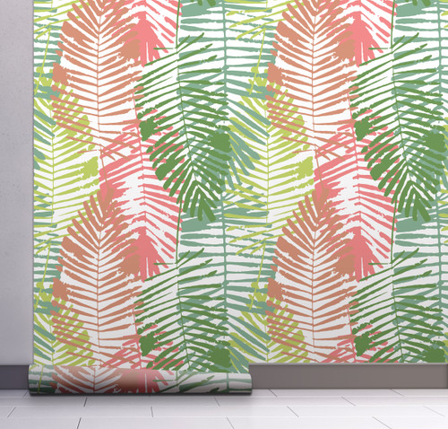 GW2161 Abstract Palms Peel and Stick Wallpaper Roll 20.5 inch Wide x 18 ft. Long, Pink/Green
