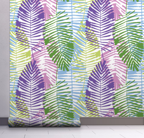 GW2163 Abstract Palms Peel and Stick Wallpaper Roll 20.5 inch Wide x 18 ft. Long, Green/Purple/Blue