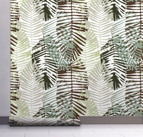 GW2162 Abstract Palms Peel and Stick Wallpaper Roll 20.5 inch Wide x 18 ft. Long, Gray/Black/Green