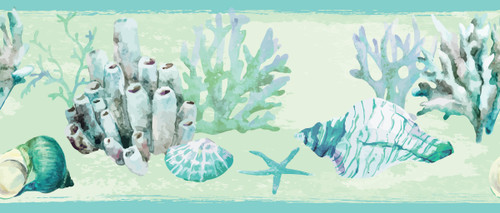 GB10011 Coral and Seashells Peel and Stick Wallpaper Border 10in Height x 18ft Long Blue/Green