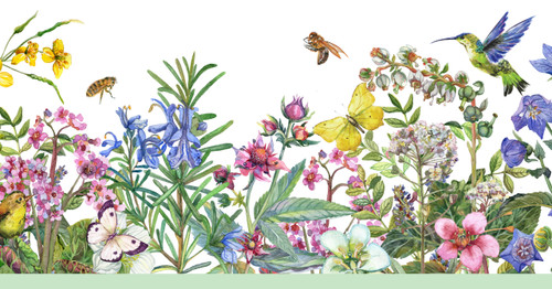 GB50071 Living Garden Peel and Stick Wallpaper Border 10in Height x 18ft Multicolor