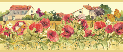 GB50061 Countryside Watercolor Flowers Peel and Stick Wallpaper Border 10in Height x 18ft Tan/Red/Green