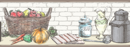GB40011 Basket and Kitchenware Peel and Stick Wallpaper Border 10in Height x 18ft Multicolor
