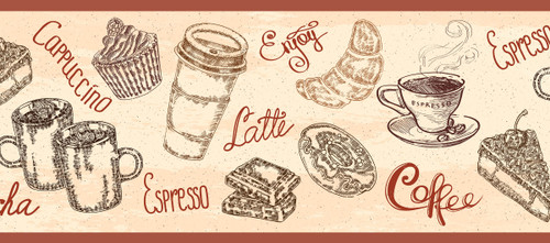 GB80011 Coffee Illustrations Peel and Stick Wallpaper Border 10in Height x 18ft Beige/Brown/Burgundy