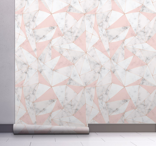 GW0111 Triangles on Marble Peel and Stick Wallpaper Roll 20.5 inch Wide x 18 ft. Long, Pink