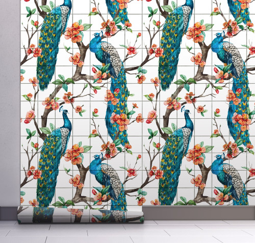 GW2165 Peacock with Grid Peel and Stick Wallpaper Roll 20.5 inch Wide x 18 ft. Long, Blue/White/Orange