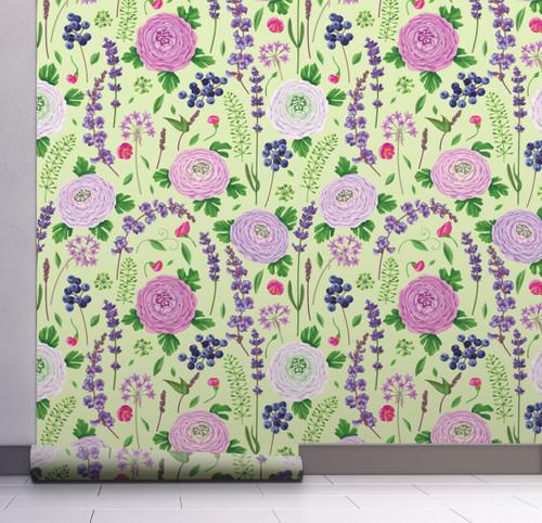 GW5101 Grace & Gardenia Blueberry Floral Garden Peel and Stick Wallpaper Roll 20.5 inch Wide x 18 ft. Long, Green Purple Blue Pink