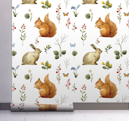 GW3022 Grace & Gardenia Woodland Squirrel & Rabbit Peel and Stick Wallpaper Roll 20.5 inch Wide x 18 ft. Long, Beige/White/Gray