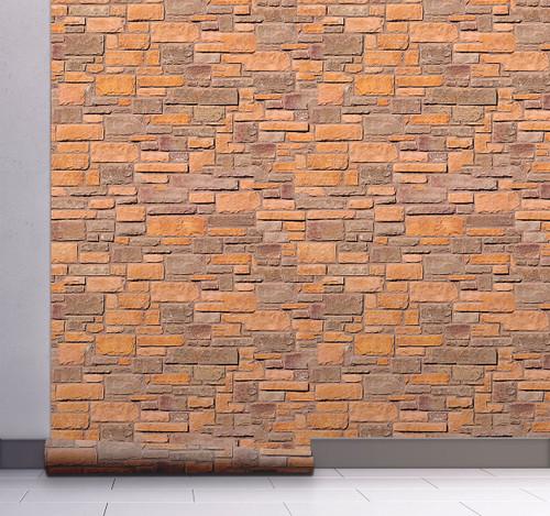 GW7021 Grace & Gardenia Rustic Orange Brick Peel and Stick Wallpaper Roll 20.5 inch Wide x 18 ft. Long, Light Orange Beige Brown