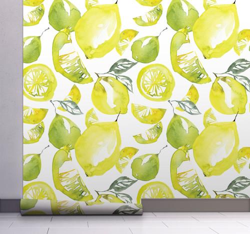 GW5111 Grace & Gardenia Lemon Lime Watercolor Peel and Stick Wallpaper Roll 20.5 inch Wide x 18 ft. Long, Yellow Green White