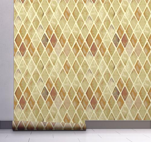 GW0121 Grace & Gardenia Geometric Diamonds Peel and Stick Wallpaper Roll 20.5 inch Wide x 18 ft. Long, Beige/Tan/Cream