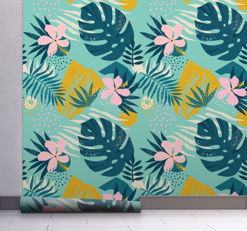 GW2181 Grace & Gardenia Abstract Tropical Peel and Stick Wallpaper Roll 20.5 inch Wide x 18 ft. Long, Blue Orange Pink