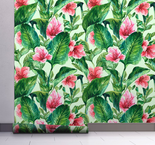 GW2191 Grace & Gardenia Hand Painted Tropical Peel and Stick Wallpaper Roll 20.5 inch Wide x 18 ft. Long, Green Pink